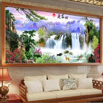 室良品 新款 十字绣 客厅山水画迎客松流水生财图片