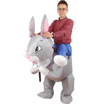 抖音同款亲子儿童充气骑恐龙衣服玩具动物立体小恐龙裤子小马鸭子