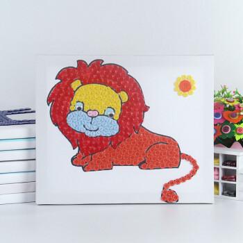 幼儿园纽扣画diy材料包手工制作卡通粘贴画扣子儿童创意玩具 狮子