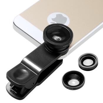 BIAZE 手机镜头 广角 微距 鱼眼摄像头 自拍镜头 苹果 三星 小米手机平板通用 夹子款 黑色