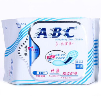 ABC 丝薄棉柔 压纹防皱 护垫 163mm*22片(含KMS健康配方)