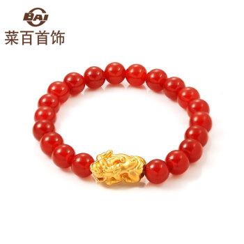 菜百首饰黄金千足金貔貅红玛瑙手串