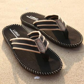 路拉迪人字拖男士凉拖鞋防滑夹脚沙滩拖鞋 黑色 39/40