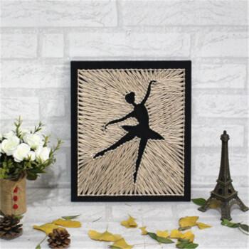 诗拜 芭蕾女孩创意纱线画 舞者钉子绕线画立体装饰画diy手工材料包