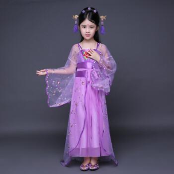夏季儿童古装仙女古筝演出表演服唐朝公主古代贵妃舞蹈汉服女拖尾