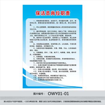 物业公司规章制度牌 挂图 宣传画 保洁员岗位职责 墙贴画owy01-01