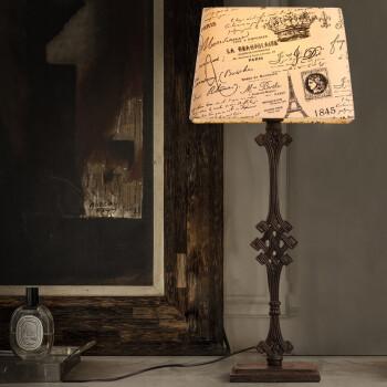 布艺灯罩铁艺装饰铸铁台灯图片