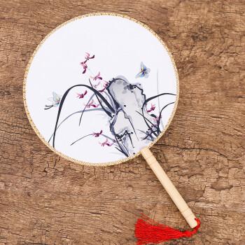中国风圆形团扇女士扇子带流苏宫扇娟扇日用礼品礼物舞蹈扇 兰花蝴蝶