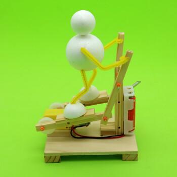 diy科技小制作小发明电动踏步椭圆机动手拼装模型 材料包(含胶) 2电池