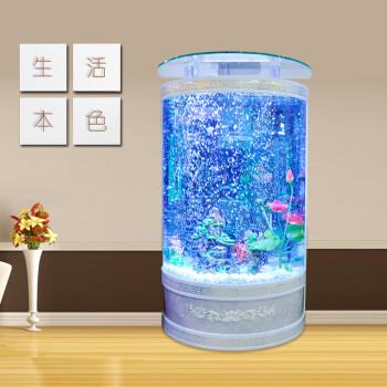 欧式鱼缸水族箱半圆玻璃家用客厅靠墙0.8米创意大中型