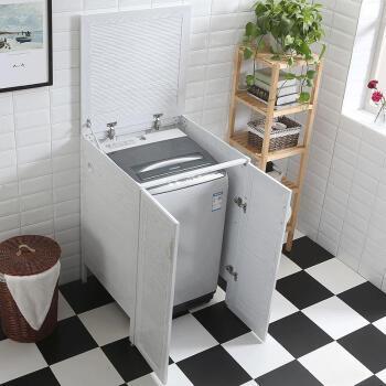 太空铝阳台洗衣机柜波轮洗衣柜翻盖卫浴柜石英石搓板组合切角定制图片