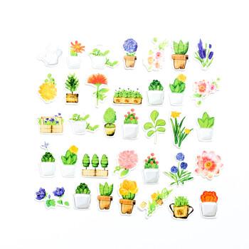 创意卡通韩国手帐套装素材装饰贴日常美食卡通小动物 手绘绿植36张