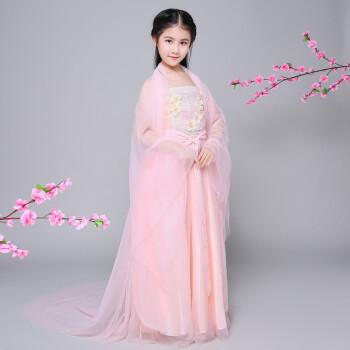 儿童汉服古风服装古代公主贵妃衣服小女孩仙女轻纱白浅广袖流仙裙 浅