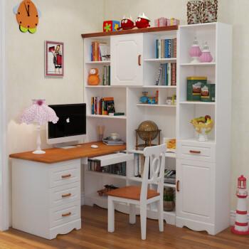 2米书桌书架组合 边柜图片