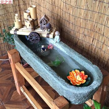石槽流水鱼缸流水摆件民间老旧石槽马槽牛槽洗手盆石头花盆景观sn7241图片