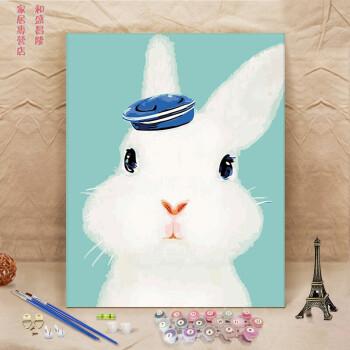 萌系卡通兔猫狗猪动物填色油彩画休闲手绘儿童diy数字