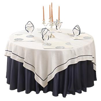 酒店餐桌布大圆桌台布布艺餐厅中式现代简约饭店家用圆形桌布 纯白 宝