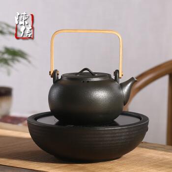 陈信 陶瓷茶壶煮茶器电陶炉陶壶泡茶茶具套装家用粗陶烧水壶功夫茶壶 1602陶壶1000ml