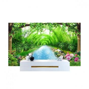 5d墙纸餐厅壁纸现代简约3d立体中式山水风景8d客厅电视背景墙壁画