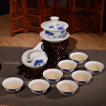 金灶(KAMJOVE) 正品玉瓷茶具套装 整套功夫茶具茶杯茶壶陶瓷礼品装 咏荷款  KP-512