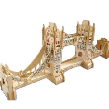 玩具拼插木质玩具3d立体娃娃拼图立体模型积木伦敦塔桥春天像刚塔地的原木图片