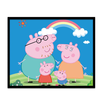 diy 数字油画儿童卡通数字手绘填色画小猪佩奇卧室客厅家居装饰画