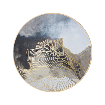 手绘北欧现代抽象画圆形新中式挂画客厅玄关餐厅壁画圆框装饰画 k款