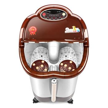 涌金ZY-668足浴盆全自动按摩洗脚盆电动按摩加热泡脚盆深桶足浴器 褐色
