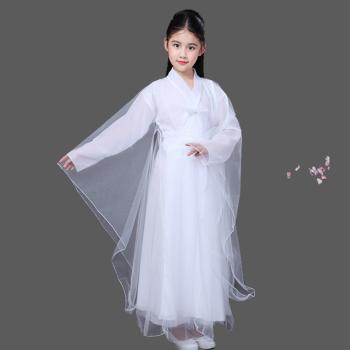 儿童汉服古风服装古代公主贵妃衣服小女孩仙女轻纱白浅广袖流仙裙图片