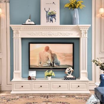 欧式2米壁炉电视柜简约背景墙壁炉架实木美式壁炉装饰