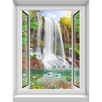 竖款3d仿真假窗户自粘防水墙贴画森林风景竹林瀑布溪水唯美墙壁纸 17