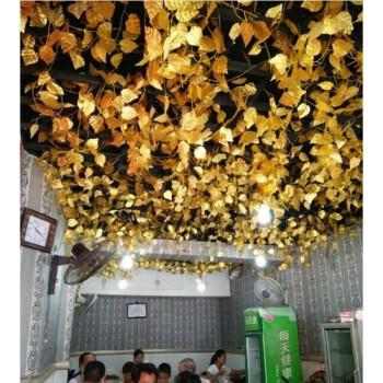 金色叶子假树叶仿真葡萄叶藤条金叶子管道装饰吊顶塑料花苹果藤蔓图片