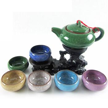 点魅 台湾冰裂茶具7件套 紫砂功夫 冰裂釉茶具套装 绿壶六色杯装