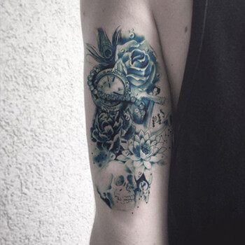 gt全臂玫瑰骷髅时钟持久纹身贴防水男大花臂个性纹身贴纸 wt-102