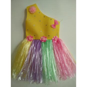 六一儿童节服装演出服儿童时装秀手工材料制作衣服公主裙 黄色单肩