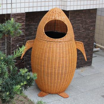 爱家乐多藤编垃圾桶脚踏式开口学校公园风景区户外大号个性卡通创意垃