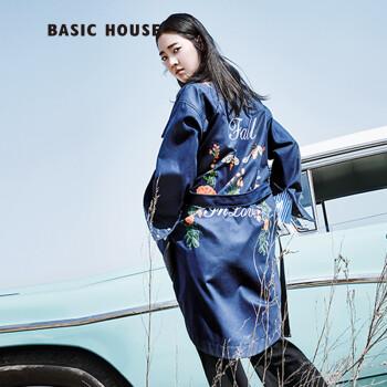 basic house/百家好时尚休闲女装长款收腰印花风衣hqca525b 藏青色图片