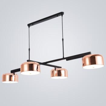 七牛  后现代北欧现代简约创意个性鱼线吊灯艺术灯具玫瑰金可调节多角度LED客厅餐厅吧台LED四头餐吊