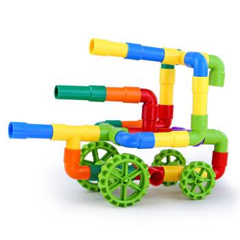 立体塑料拼插管道积木水管积木儿童幼儿园玩具3-6岁益智拼装 38件收纳
