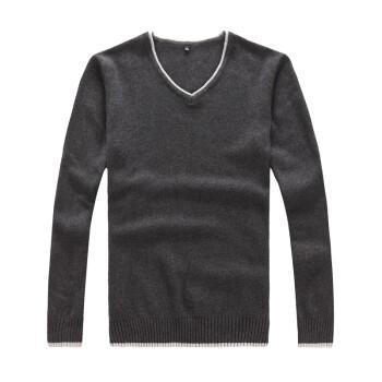 蛙越 秋季新款 时尚小V领男士修身纯棉长袖针织衫薄款线衫 S4323 深灰色 2XL