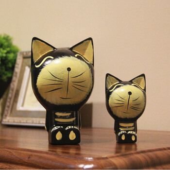 可爱卡通原木猫咪创意家居摆件 客厅卧室木质母子套装饰品 黑色 一对