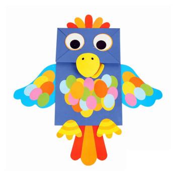 儿童纸袋手偶纸偶手工创意制作幼儿园手工diy材料包粘贴贴画贴纸 鹦鹉
