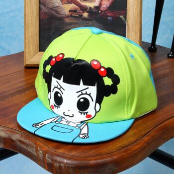 艾凝雪儿童款卡通人物棒球帽平沿小女孩鸭舌帽印花甜美可爱拼色嘻哈