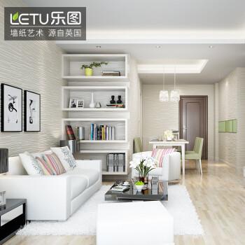 乐图(letu) 壁纸环保电视背景墙客厅卧室3d壁纸现代简约 白色ici-b