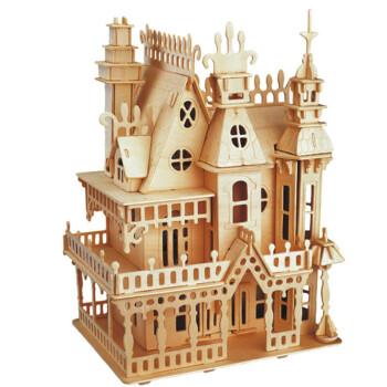 立体拼插木质木制3d立体拼图古建筑积木拼装组装拼插模型 梦幻别墅