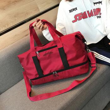 短途旅行包女手提行李包男韩版简约旅行袋大容量鞋位轻便运动健身包单肩旅游包行李袋斜跨装衣服的包出差包 红色