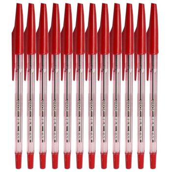 百乐(PILOT) BP-S-F 啄木鸟圆珠笔 彩色原子笔 中油笔 原珠笔 0.7MM 红色(12支装)