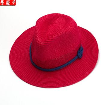 云织月 草帽女夏天 海边沙滩帽子蓝绳女士草帽遮阳太阳帽 蓝绳-红色