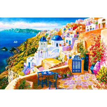 木质拼图圣托里尼希腊爱琴海风景拼图玩具创意礼物 台阶油画500片分区