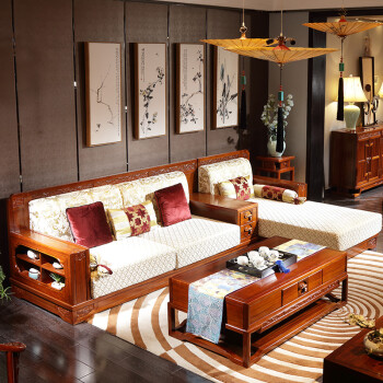 丽巢 实木沙发 新中式客厅家具实木沙发组合实木布艺沙发 沙发组合